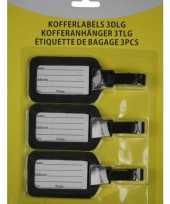 Kofferlabel bagagelabel set 3 stuks zwart trend