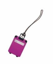 Kofferlabel fuchsia roze 9 5 cm trend