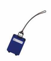 Kofferlabel kobalt blauw 9 5 cm trend