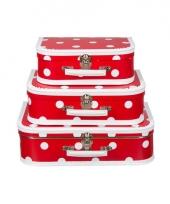Koffertje rood polka dot 35 cm trend
