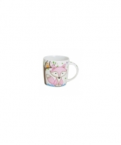 Koffie thee mok beker 9 cm roze vos trend