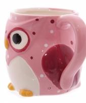 Koffiebeker uil roze trend