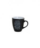 Koffiebeker zwart met tekst morning coffee is the best trend