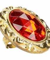 Koning koningin carnaval ring met grote rode diamant trend
