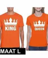 Koningsdag koppel king queen t-shirt oranje maat l trend