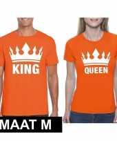 Koningsdag koppel king queen t-shirt oranje maat m trend