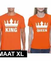 Koningsdag koppel king queen t-shirt oranje maat xl trend