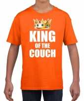 Koningsdag t-shirt king of the couch oranje voor kinderen trend
