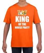 Koningsdag t-shirt king of the house party oranje voor kinderen trend