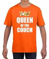 Koningsdag t-shirt queen of the couch oranje voor meisjes trend