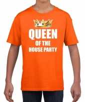 Koningsdag t-shirt queen of the house party oranje voor kinderen trend