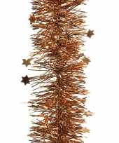 Koper bruine kerstversiering folie slinger met ster 270 cm trend