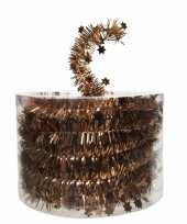 Koper bruine kerstversiering folie slinger met ster 700 cm trend