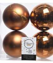 Koper bruine kerstversiering kerstballen kunststof 10 cm trend