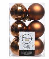 Koper bruine kerstversiering kerstballen kunststof 6 cm trend