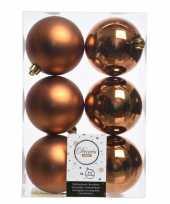 Koper bruine kerstversiering kerstballen kunststof 8 cm trend