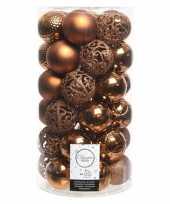 Koper bruine kerstversiering kerstballenset kunststof 6 cm 36x trend