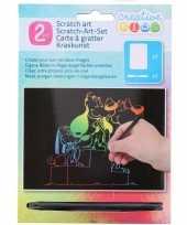 Kras tekening krasfolie regenboog kleuren honden trend
