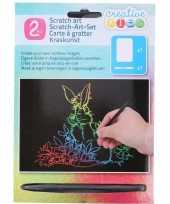 Kras tekening krasfolie regenboog kleuren konijnen trend
