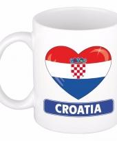 Kroatische vlag hartje theebeker 300 ml trend