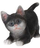Kruipende katten beeldje zwart 18 cm trend