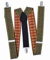 Kruispatroon bretels groen met rood trend