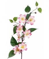 Kunst clematis roze op steel 80 cm trend
