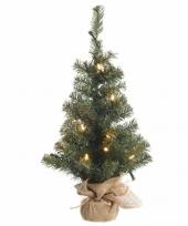 Kunst kerstboom groen met warm witte verlichting 60 cm trend