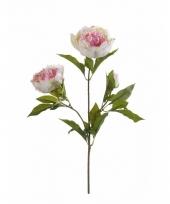 Kunstbloem pioenroos wit roze met 3 takken trend