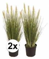 Kunstplant gras plantje groen 2 stuks trend