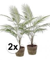 Kunstplant palmboompje groen 2 stuks trend