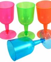 Kunststof neon drinkglazen 20 stuks trend