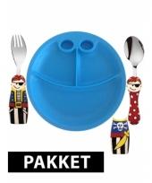 Kunststof ontbijtset servies voor jongens met piraten bestek trend