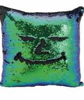 Kussen blauw groen metallic met pailletten 40 x 40 cm trend