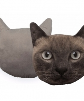 Kussen poes kat donkergrijs 30 cm trend