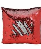 Kussen rood metallic met pailletten 40 x 40 cm trend