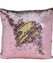 Kussen roze metallic met pailletten 40 x 40 cm trend