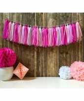 Kwast slinger roze 5 meter trend