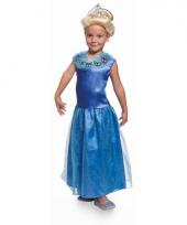 Lange blauwe prinsessen jurk voor meisjes trend