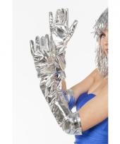 Lange gala handschoenen zilver trend