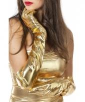 Lange glimmende handschoenen goud trend