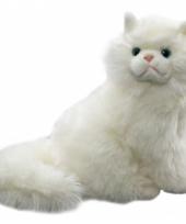 Langharige witte kuffel kat 30 cm trend