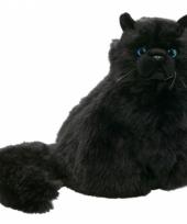 Langharige zwarte kat 30 cm trend