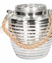 Lantaarn zilver glitter glas 16 cm trend