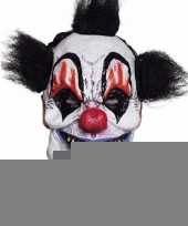 Latex killer clown masker met zwart haar trend