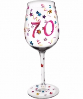 Leeftijd wijnglas 70 jaar 22 cm trend