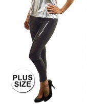 Legging met zwarte pailletten plus size trend