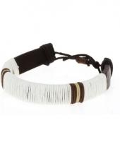 Leren hippie armbandje wit 7 cm trend
