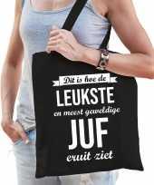 Leukste juf katoenen cadeau tas zwart voor dames trend
