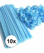 Lichtblauwe ballonstaafjes 10 stuks trend